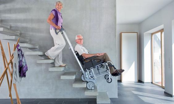 Monte escalier Scalamobil fauteuil roulant utilisation
