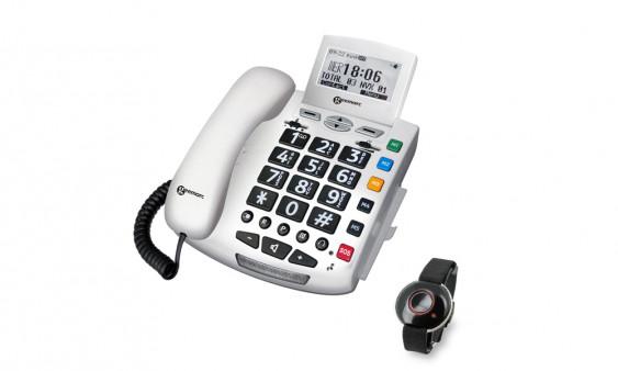 Téléphone filaire Serenities avec bracelet d'urgence