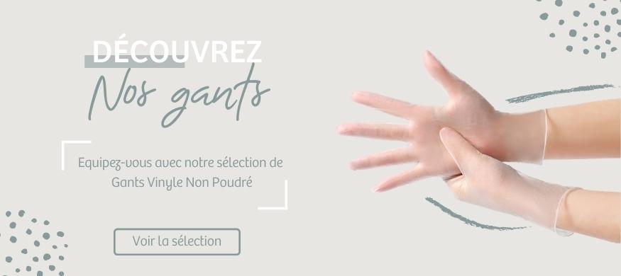 Bannière gants Vinyles | Harmonie Médical Service