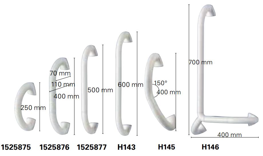Dimensions barre d'appui Aqua Invacare
