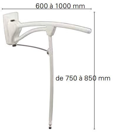 Dimensions barre d'appui relevable avec pied Revato Invacare
