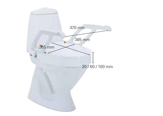 Rehausseur WC AT90000 avec accoudoirs 10 cm
