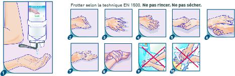 9 étapes pour se désinfecter les mains avec le gel Aniosgel 85 bleu