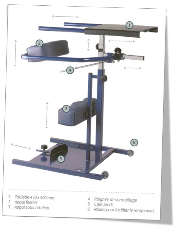 Caractéristiques techniques verticalisateur modulaire adolescent et adulte