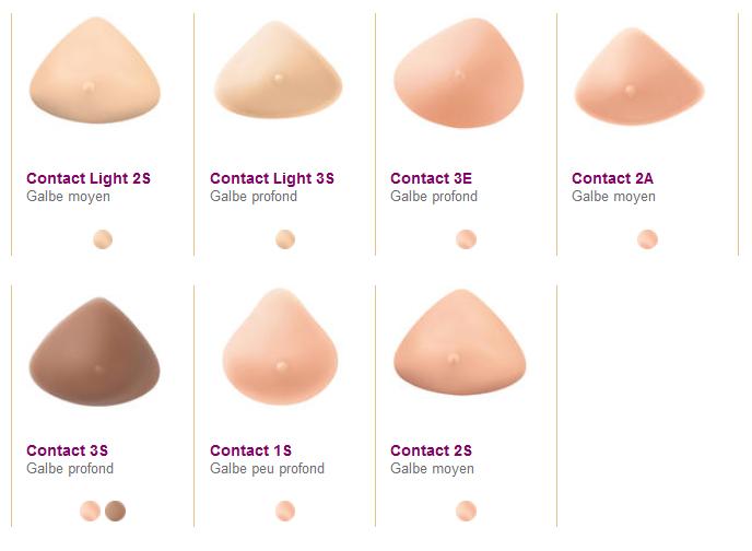 Prothèse mammaire externe Contact formes et coloris